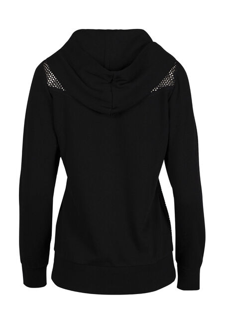 Ladies' Mesh Accent Hoodie, BLACK, hi-res