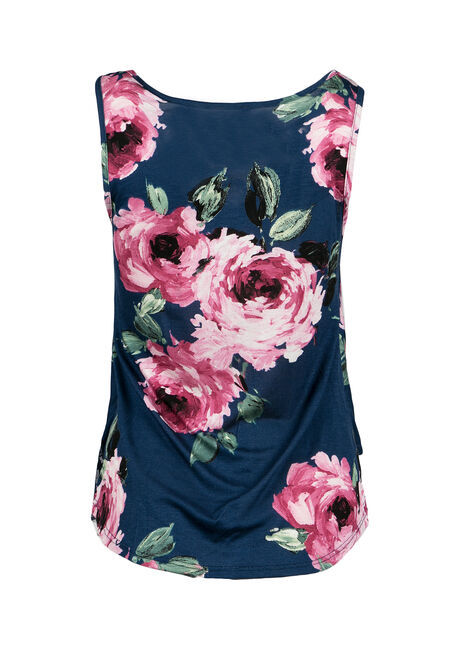 Ladies' Floral Tank, NAVY, hi-res