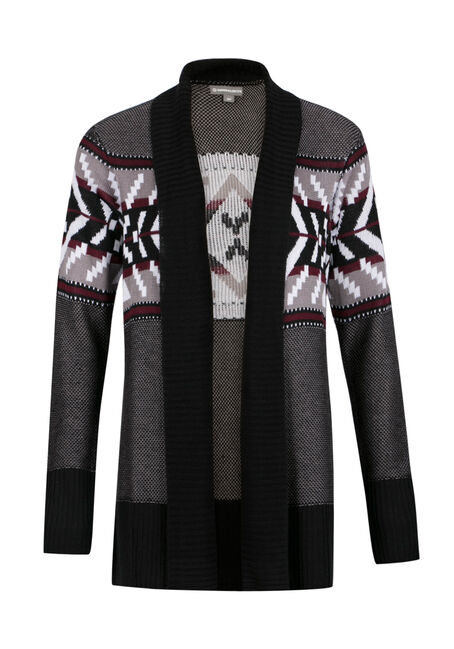 Ladies' Geometric Open Cardigan