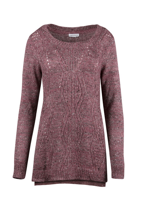Ladies' Pointelle Tunic Sweater, DEEP PINK, hi-res