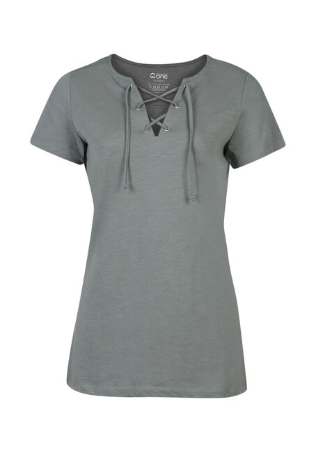 Ladies' Lace Up Tee, LIGHT OLIVE, hi-res