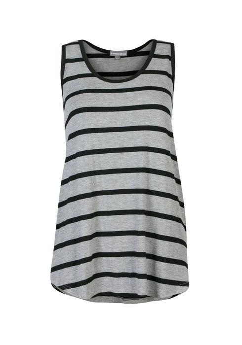 Ladies' Stripe Scoop Neck Tank, H.GREY/BLACK, hi-res