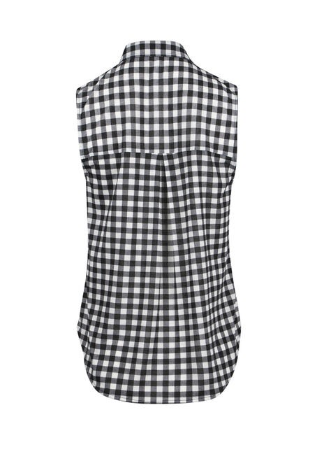 Ladies' Knit Gingham Shirt, BLK/WHT, hi-res