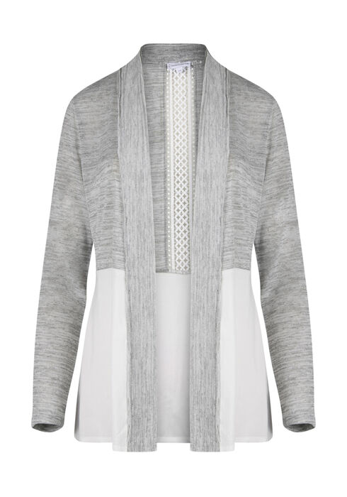 Ladies' Crochet Insert Cardigan, GREY/ WHITE, hi-res