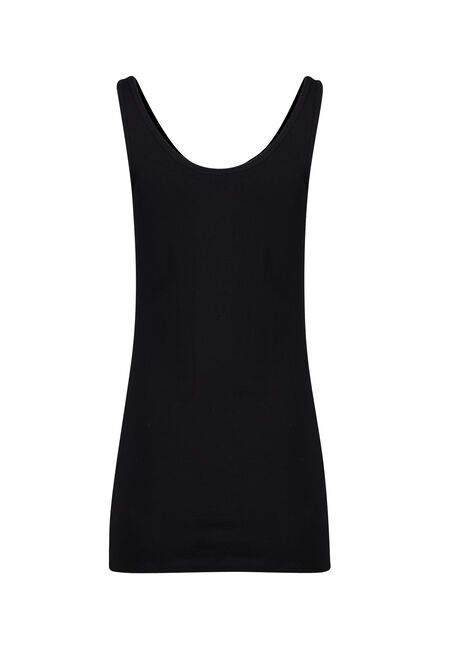 Ladies' Double Scoop Tunic Tank, BLACK, hi-res