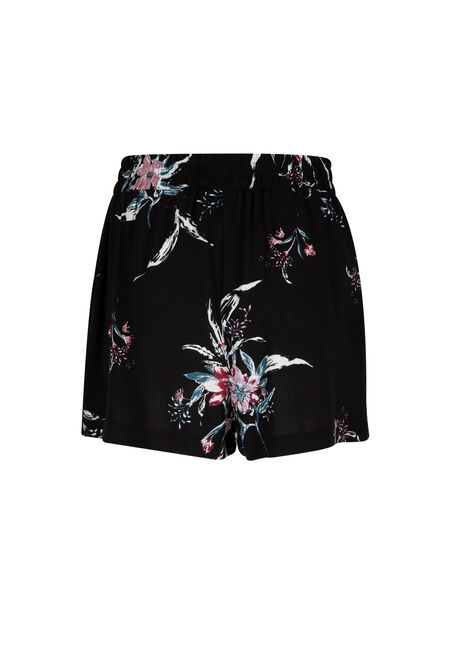 Ladies' Floral Soft Short, BLACK, hi-res