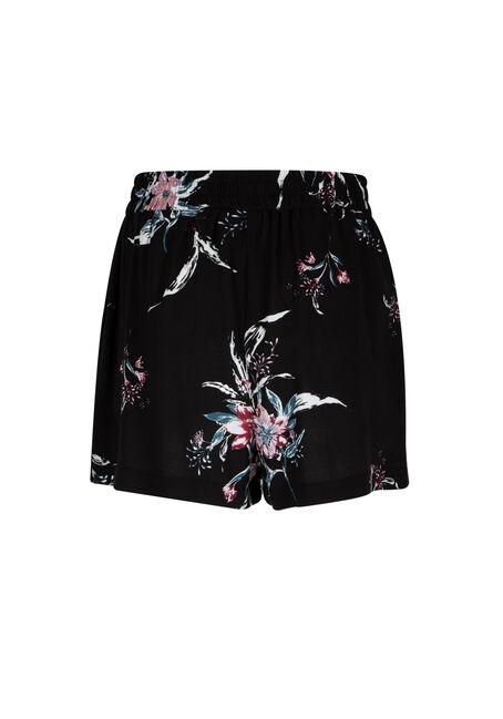 Ladies' Floral Soft Short, BLACK, hi-res