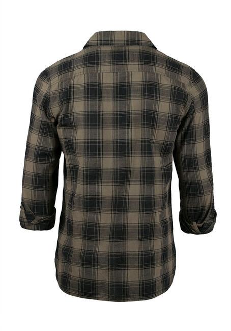 Men's Plaid Shirt, LIGHT OLIVE, hi-res