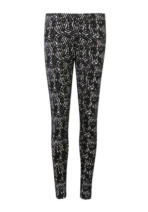 Ladies' Geo Print Legging, BLK/WHT, hi-res