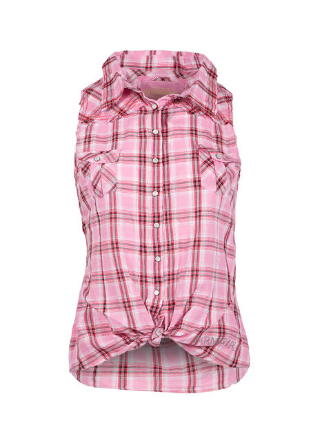 Ladies' Plaid Shirt, PINK, hi-res