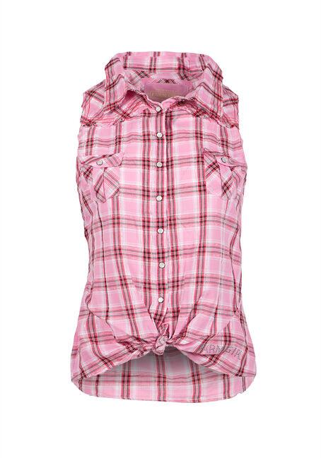 Ladies' Plaid Shirt, PINK, hi-res