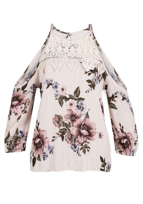 Ladies' Floral Cold Shoulder Top, CREAM, hi-res