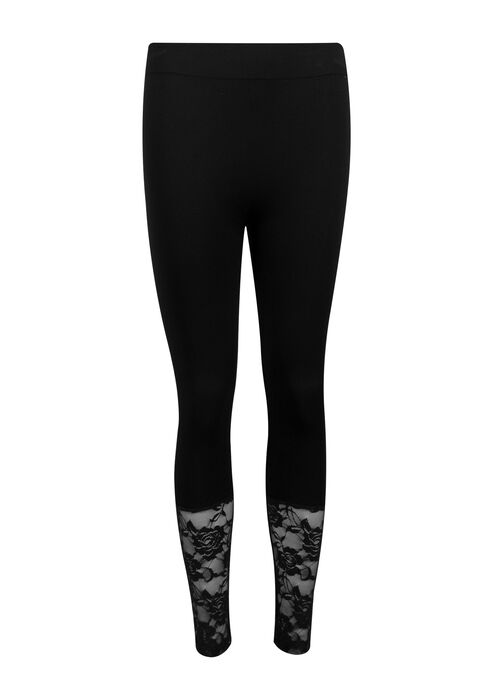 Ladies' Lace Trim Seamless Capri Legging, BLACK, hi-res