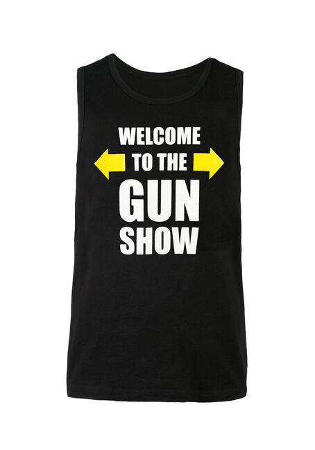 Men's Gun Show Tank, BLACK, hi-res