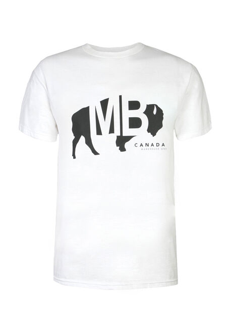 Men's Manitoba Buffalo Tee, WHITE, hi-res