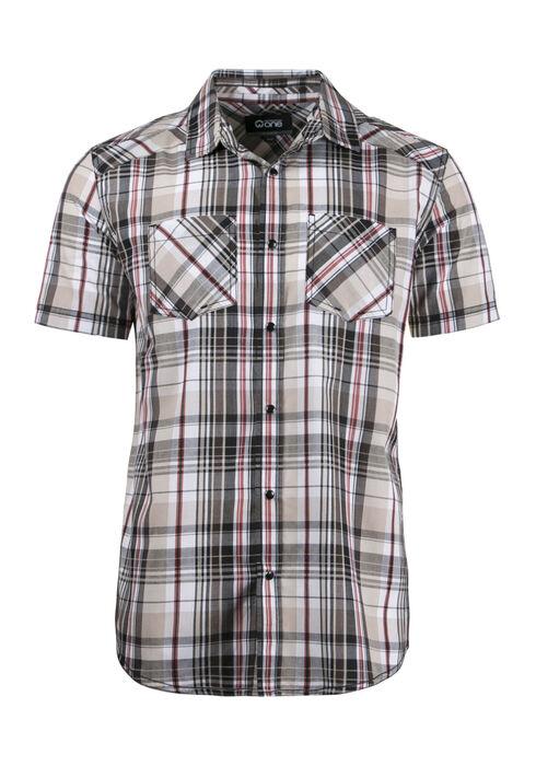 Men's Relaxed Plaid Shirt, BROWN, hi-res