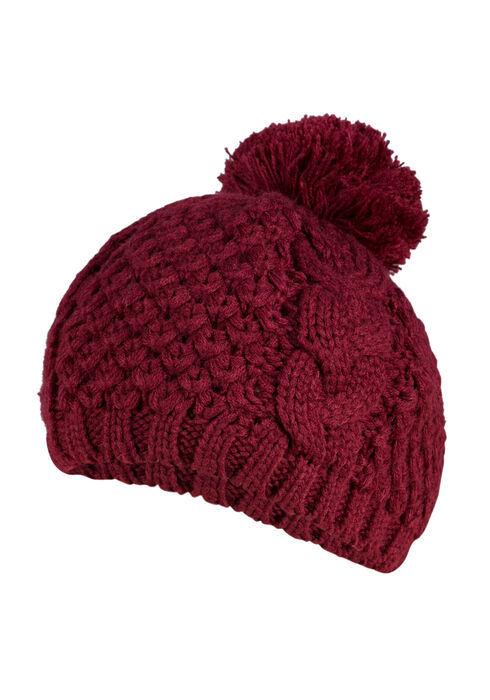 Ladies' Pom Pom Beret, BURGUNDY, hi-res