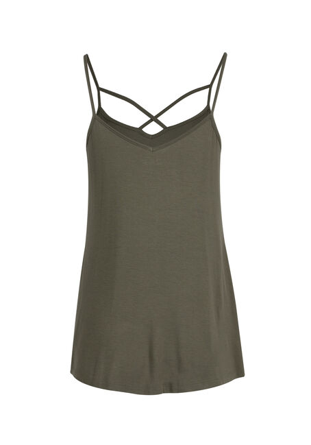 Ladies' Cage Neck Strappy Tank, IVY, hi-res