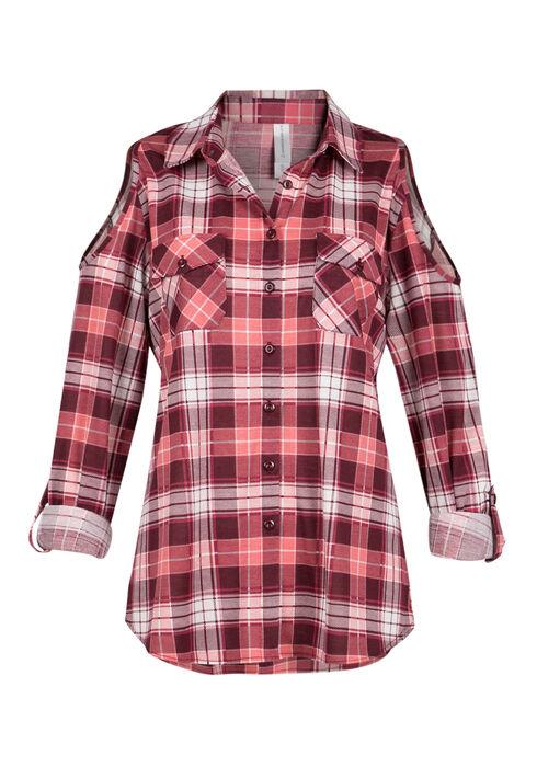 Ladies' Cold Shoulder Plaid Shirt, WINE, hi-res