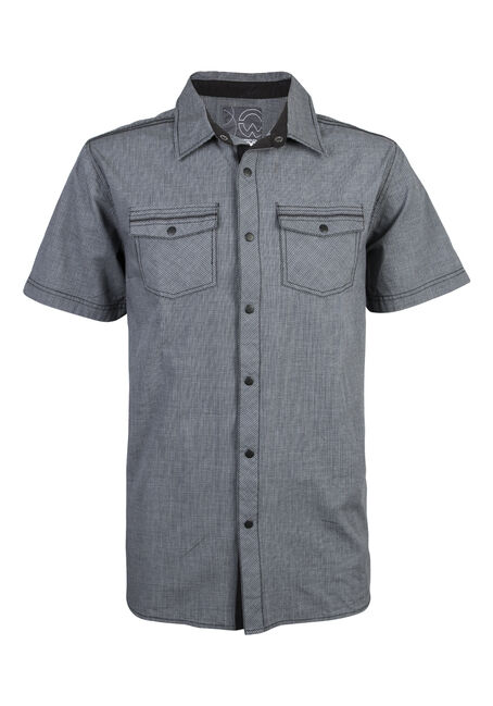 Men's Short Sleeve Micro-checked Shirt, CHARCOAL, hi-res