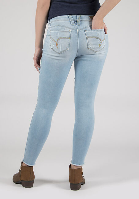 Ladies' Destroyed Skinny Ankle Jeans, LIGHT VINTAGE WASH, hi-res