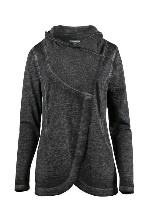 Ladies' Burnout Fleece Wrap, CHARCOAL, hi-res