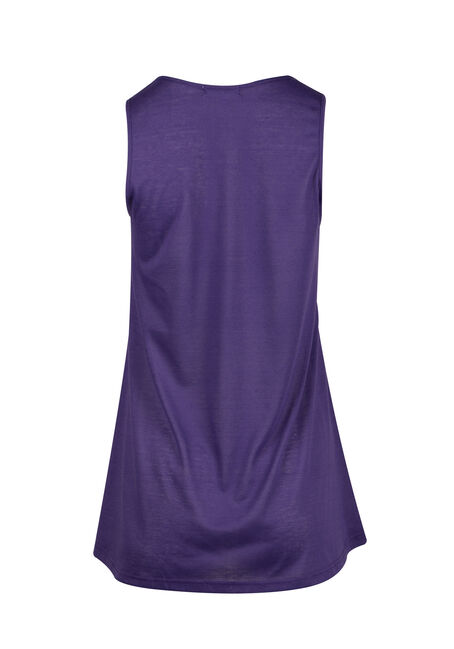 Ladies' Cage Neck Tunic Tank, PURPLE, hi-res