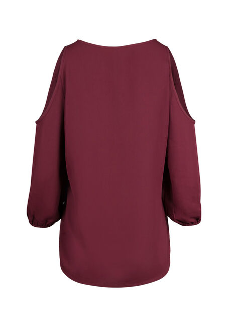 Ladies' Cold Shoulder Top, WINE, hi-res