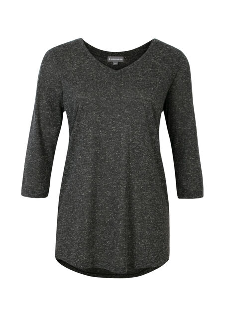 Ladies' V-Neck Tunic Tee, BLACK, hi-res