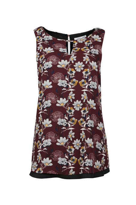 Ladies' Floral Reversible Tank, WINE, hi-res