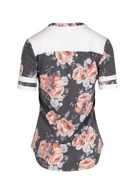 Ladies' Floral Colour Block Tee, CHARCOAL/BLUSH, hi-res