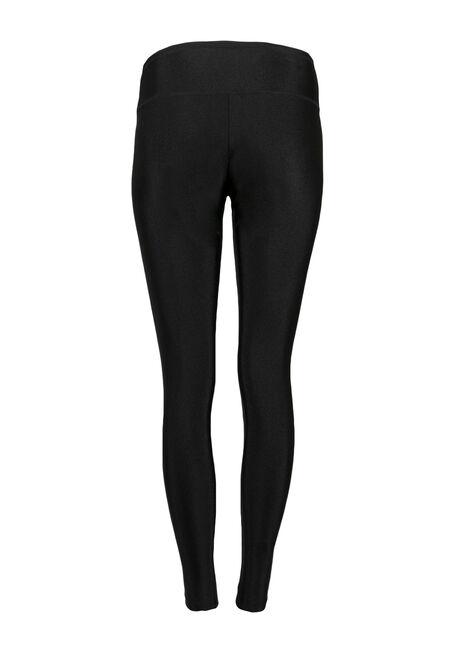 Ladies' High Waist Shiny Legging, BLACK, hi-res