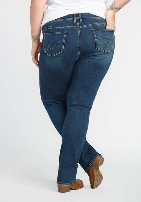 Ladies' Plus Size Baby Boot Jeans, DARK VINTAGE WASH, hi-res