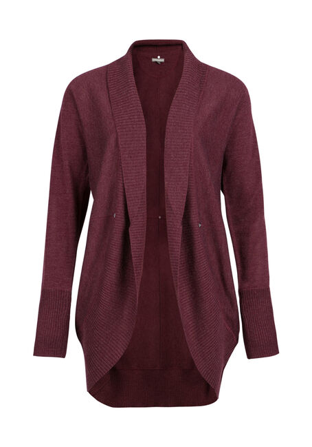Ladies' Cocoon Cardigan, WINE, hi-res