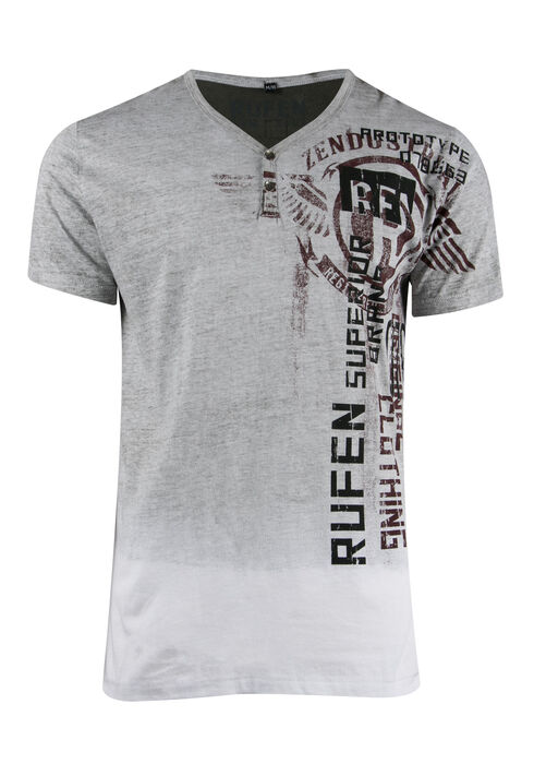 Men's Y-neck Graphic Tee, WHITE, hi-res