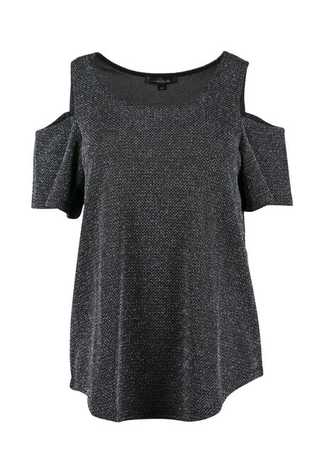 Ladies' Metallic Cold Shoulder Top