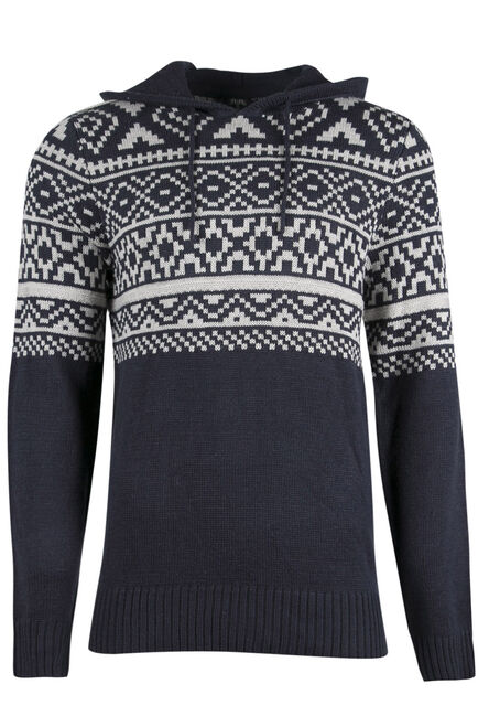 Men's Nordic Hooded Sweater, NAVY, hi-res