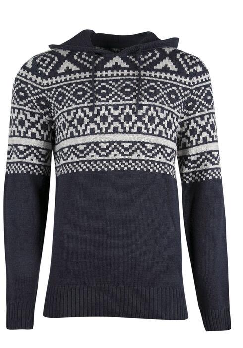 Men's Nordic Hooded Sweater, NAVY, hi-res