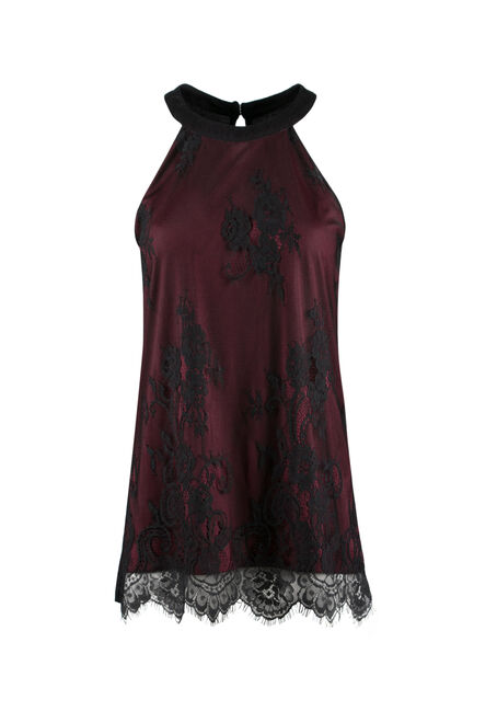 Ladies' Floral Mesh Overlay Tank, WINE, hi-res