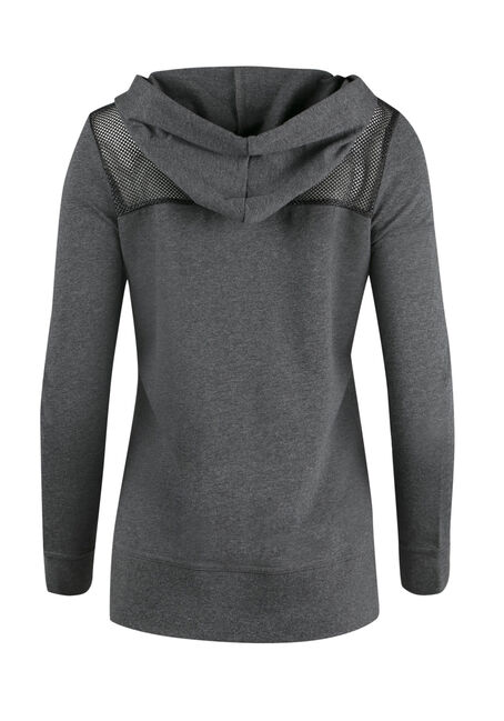 Ladies' Metallic Mesh Hoodie, CHARCOAL, hi-res
