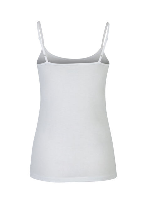 Ladies' Adjustable Strap Tank, WHITE, hi-res
