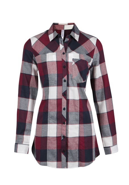 Ladies' Flannel Plaid Tunic Shirt, BURNT RED, hi-res