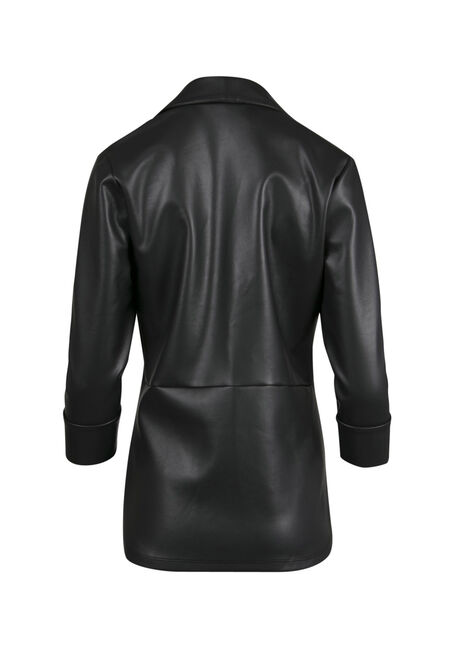 Ladies' Faux Leather Open Blazer, BLACK, hi-res