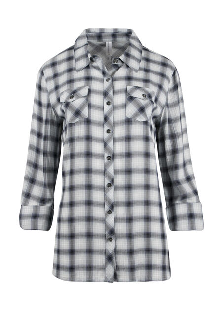 Ladies' Crinkle Plaid Shirt
