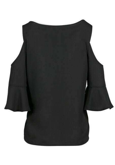 Ladies' Cold Shoulder Top, BLACK, hi-res