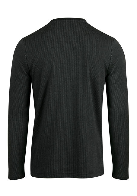Men's V-neck Rib Knit Top, BLACK, hi-res