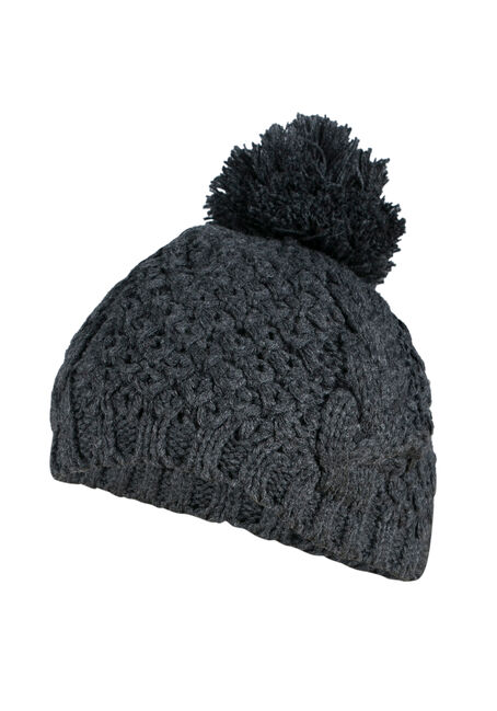 Ladies' Pom Pom Beret, GREY, hi-res