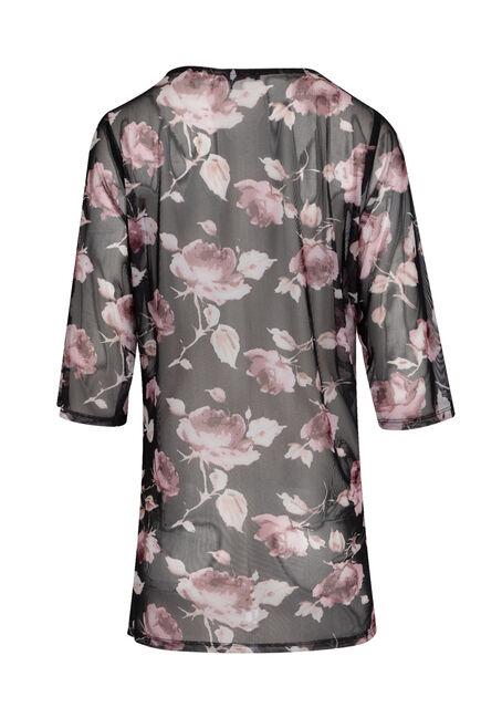 Ladies' Floral Mesh Kimono, BLACK, hi-res