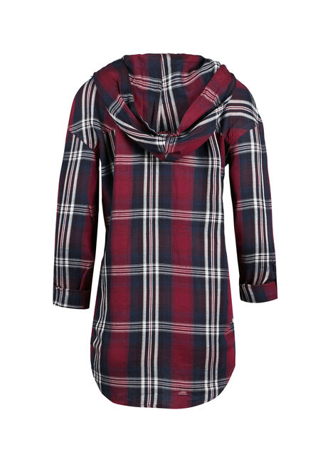 Ladies' Hooded Plaid Boyfriend Shirt, WINE, hi-res