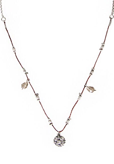 Ladies' Short Corded Charm Necklace, BROWN, hi-res